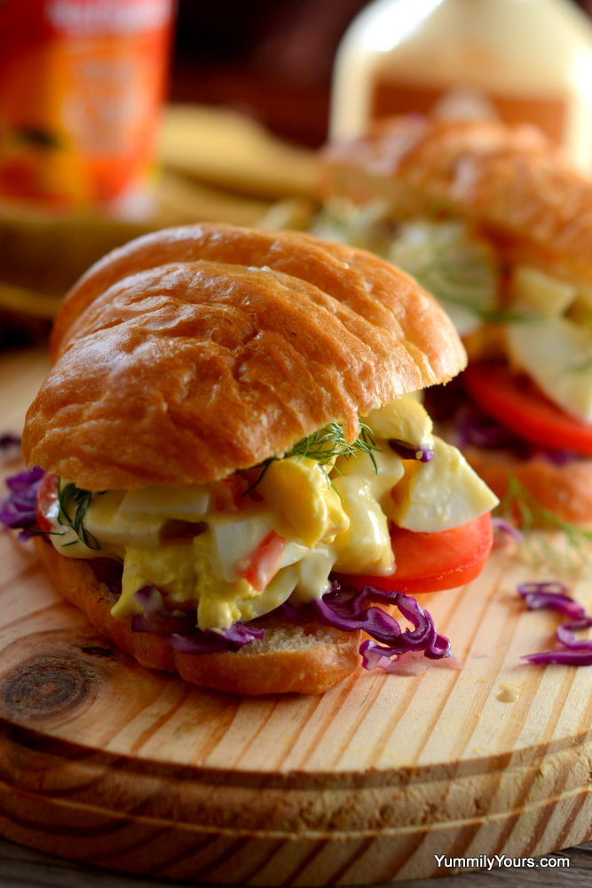 Egg Salad Croissant Sandwich With Mango Mayo Yummily Yours