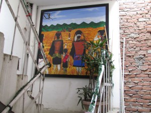 Painting of Naga women on the staircase landing area