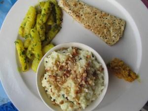 Maher with garlic aloo, chutney & fried papad
