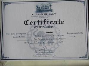 certification of completion of cookery class