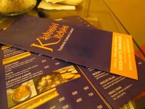 Menu card @ kashmiri Kitchen