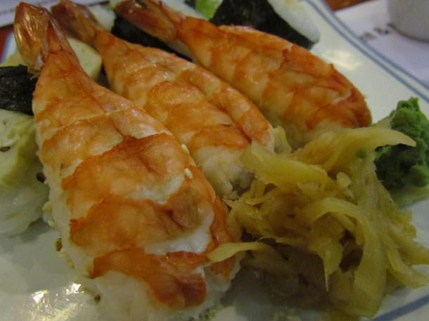 Hand rolled prawn sushi
