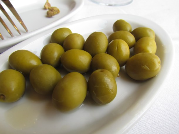Excellent olives served  complimentary