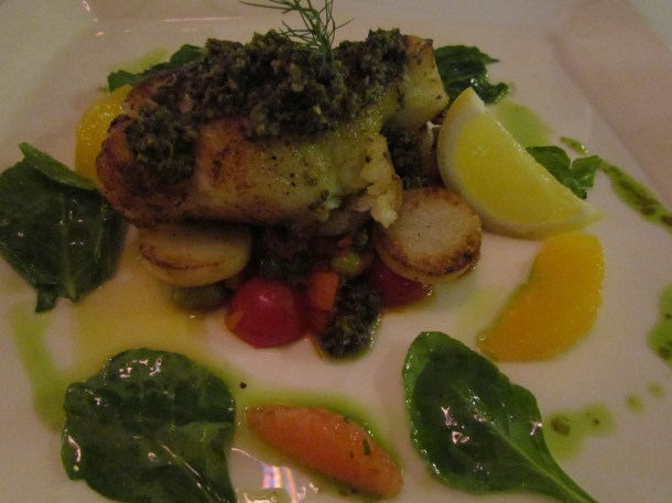Chilean Seabass – Pan roasted seabass with fondant potato , fava bean ragout, sauce bordigera
