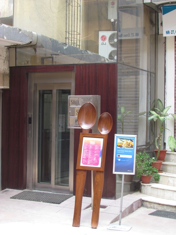 two huge wooden spoons
