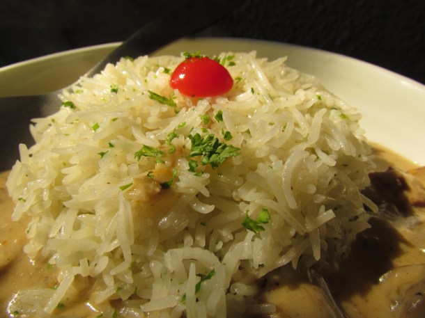rice served with Lamb zurichoise