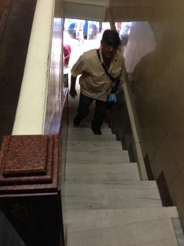 super narrow multi step stairway to heaven (foodie heaven)