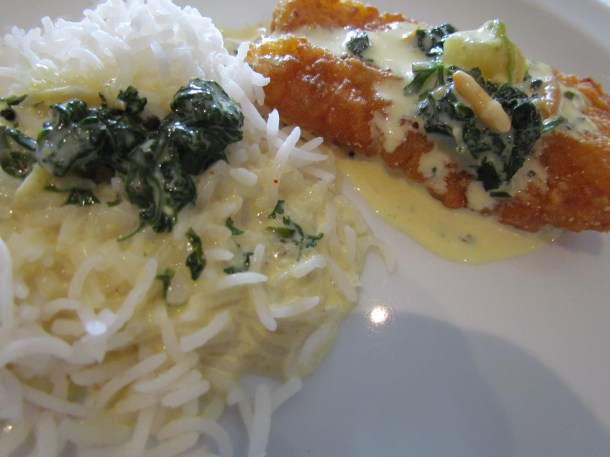 Rice crusted John Dory moilee