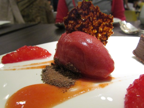 blood orange sorbet & pieces of blood orange (red colored ones).