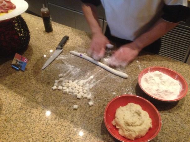 Chef preparing pasta from scratch.