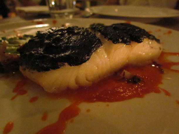 Olive crusted Chilean seabass with tomato salsa & fennel