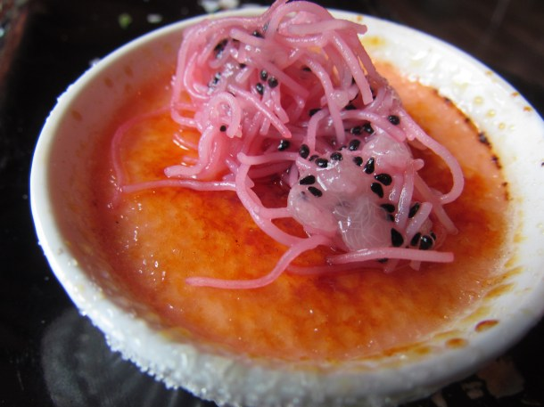 Rooh afza creme brûlée close up