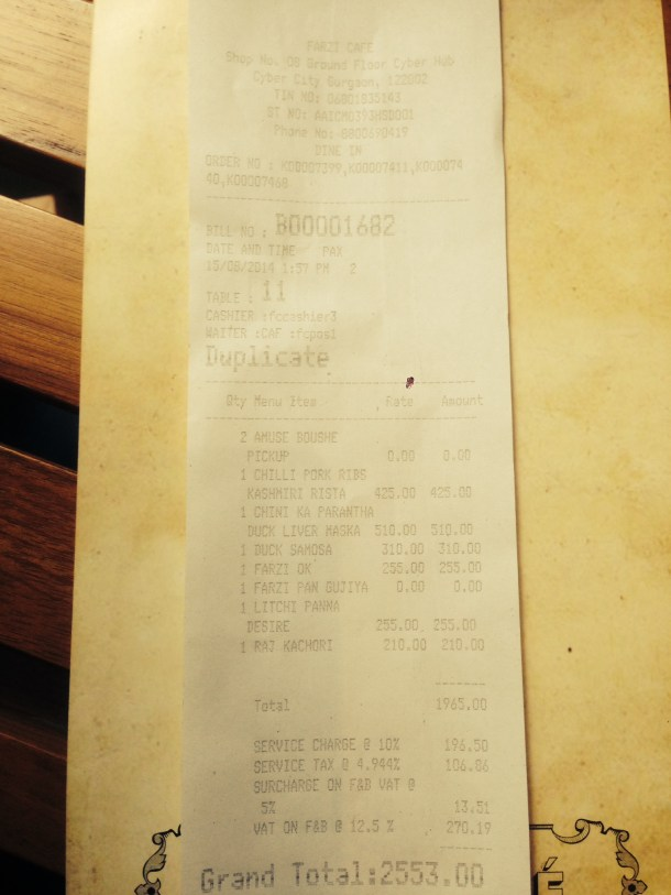 Day 1 bill - proof of payment