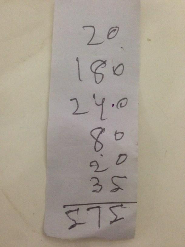 hand written receipt - proof of payment at Sabir's