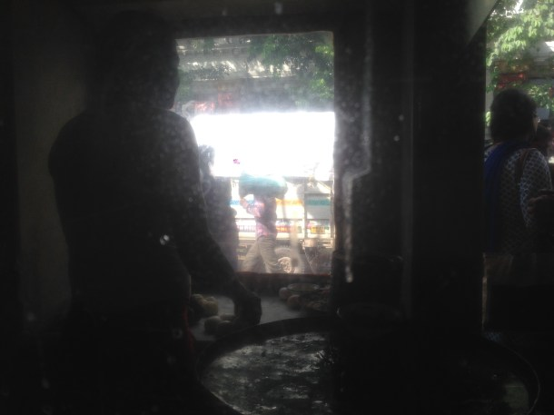 view of the frying cabin from inside the restaurant