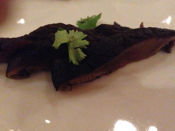 mushroom slices served with Crispy braised duck