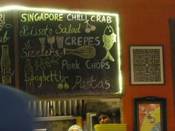 hand written menu - on a blackboard