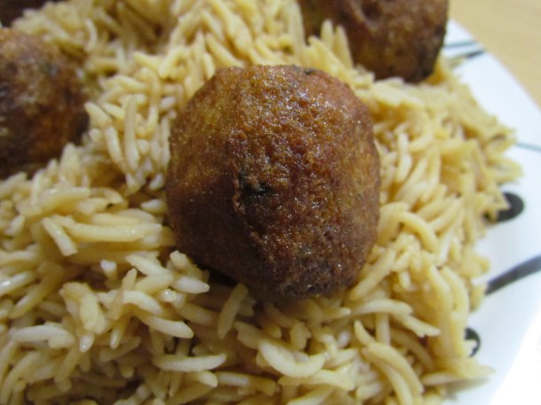 Browned rice and kababs