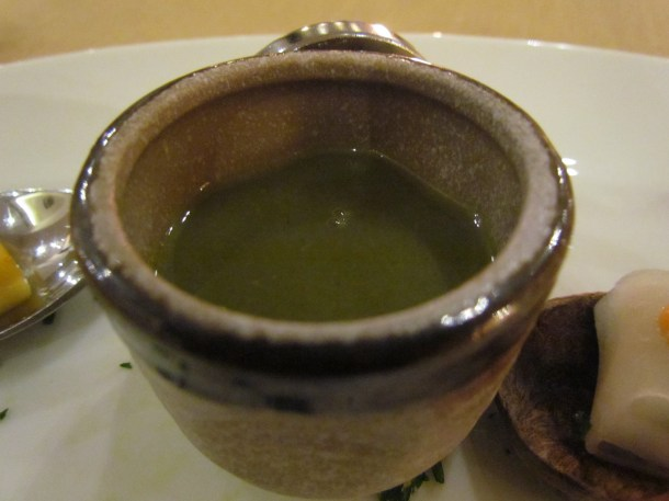 Asparagus soup with bell pepper caviar