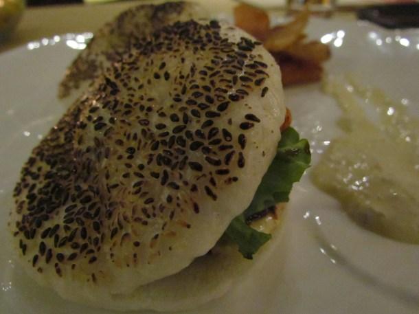 Tian rice bun burger tenderloin wasabi port wine jus