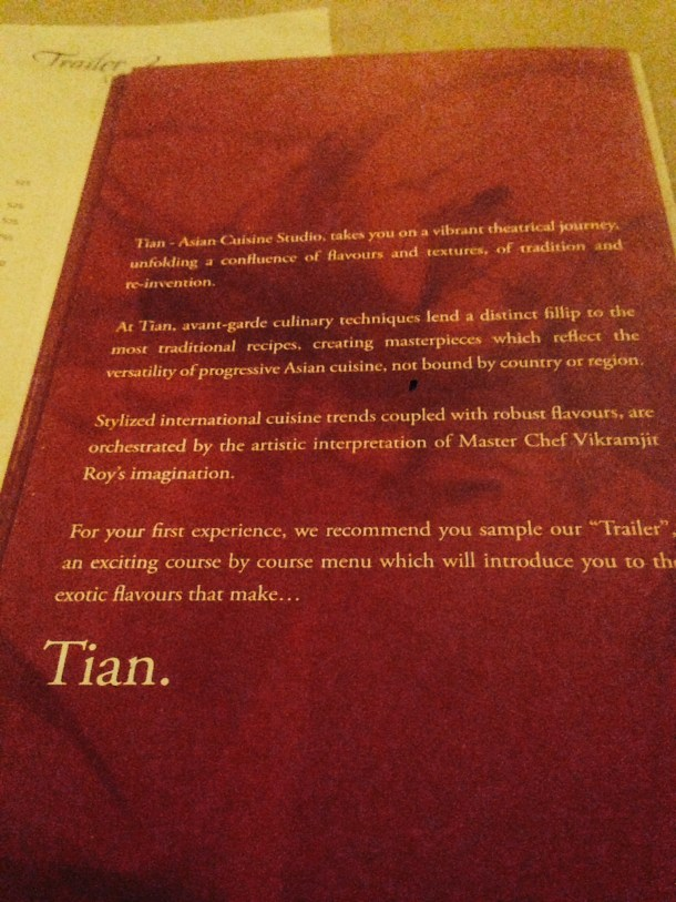 A note on Tian - as written in the menu book