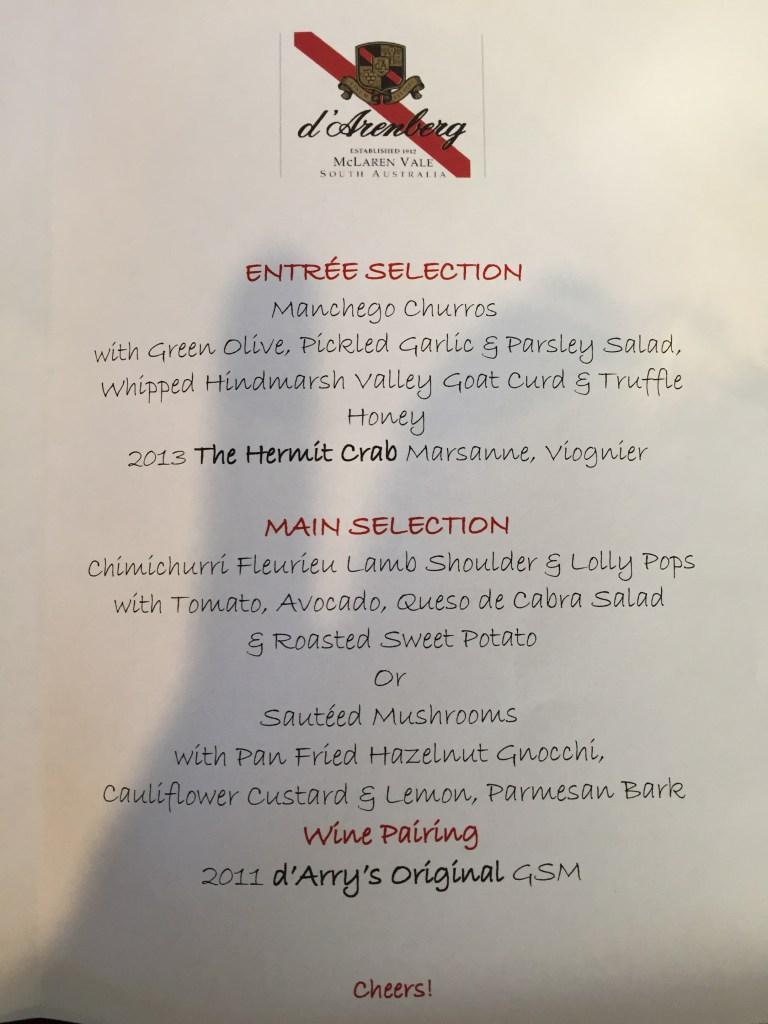 the menu card