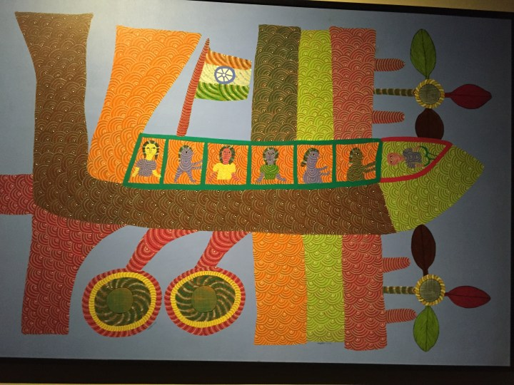 Gond tribal art - depicting a plane in their traditional art form