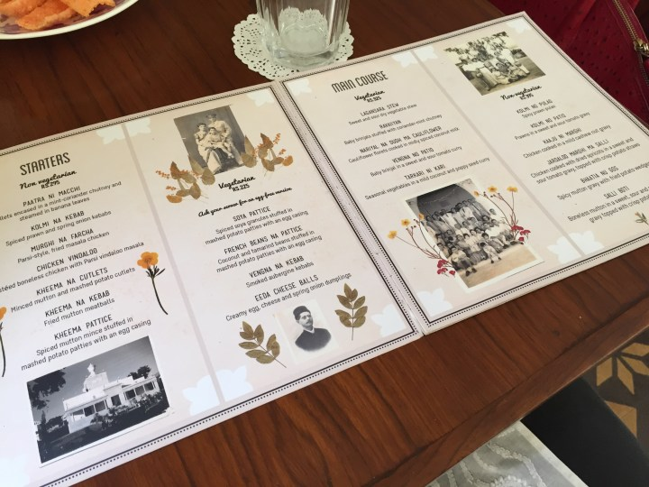 nice illustrated, menu card with description of each item