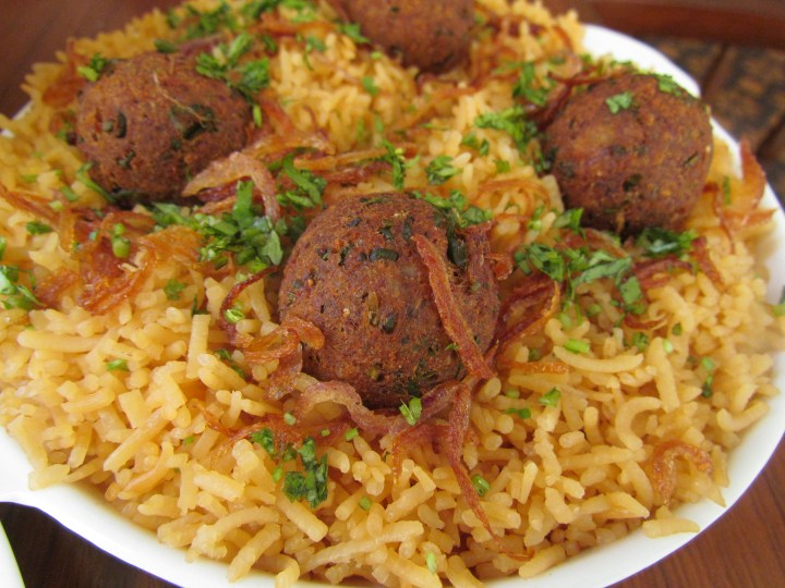 kababs & brown rice with Dhansak