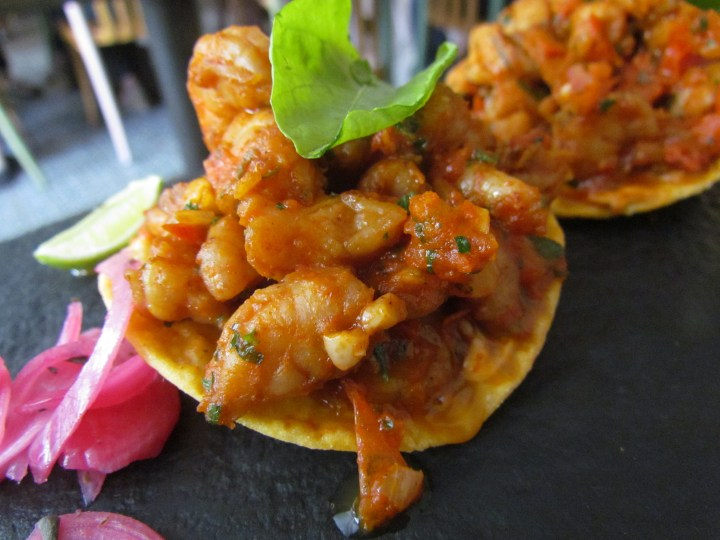 Camaron salteado shrimp with salsa Mexicana and chipotle mayonnaise