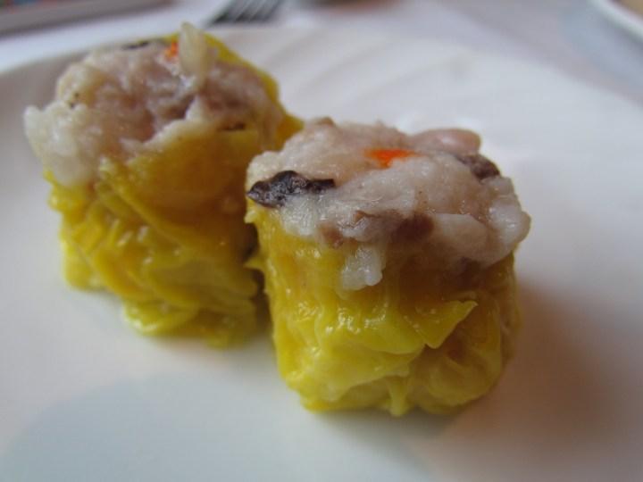 Steamed pork and shrimp dumpling with crab roe