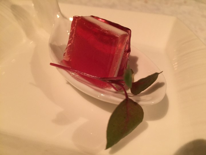 Cranberry jelly with goat cheese parfait Amuse Bouche
