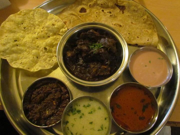 Kala mutton thali