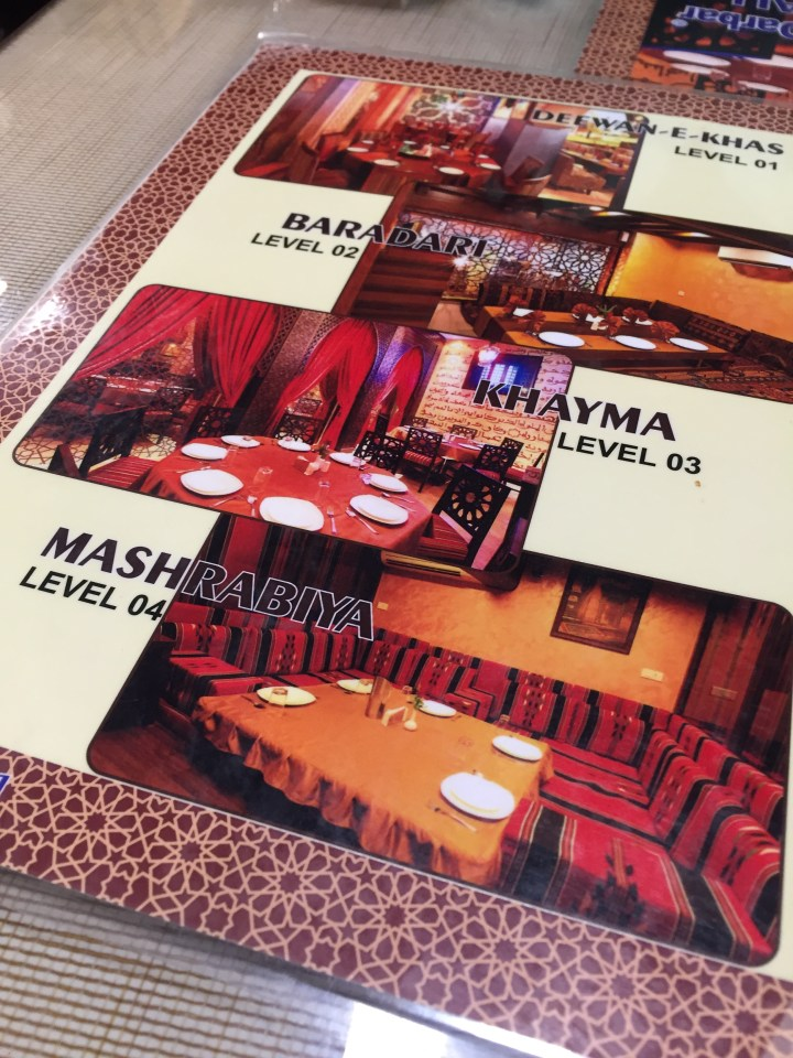 menu card with pics of the different floors