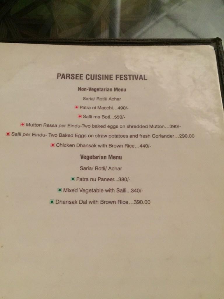 parsi menu section