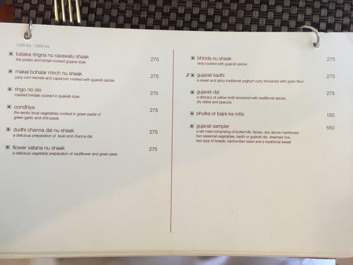 menu card that mentions choice