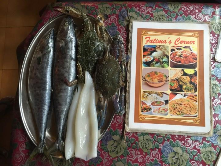 menu card & raw seafood