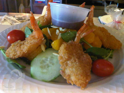 Panko shrimp over field green salad1
