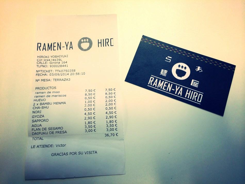 Restaurante Ramen-Ya Hiro precio