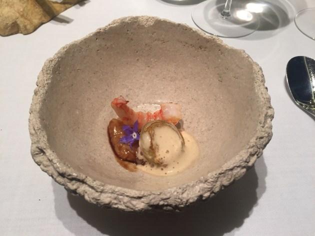 restaurante abac Sabores de playa con calamar y gamba