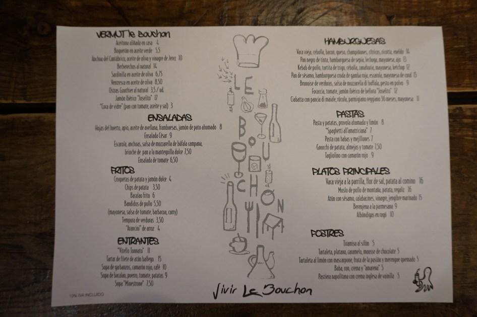 carta y platos de Le Bouchon by Giuseppe