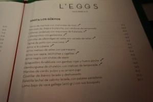 carta y platos de l'eggs restaurant