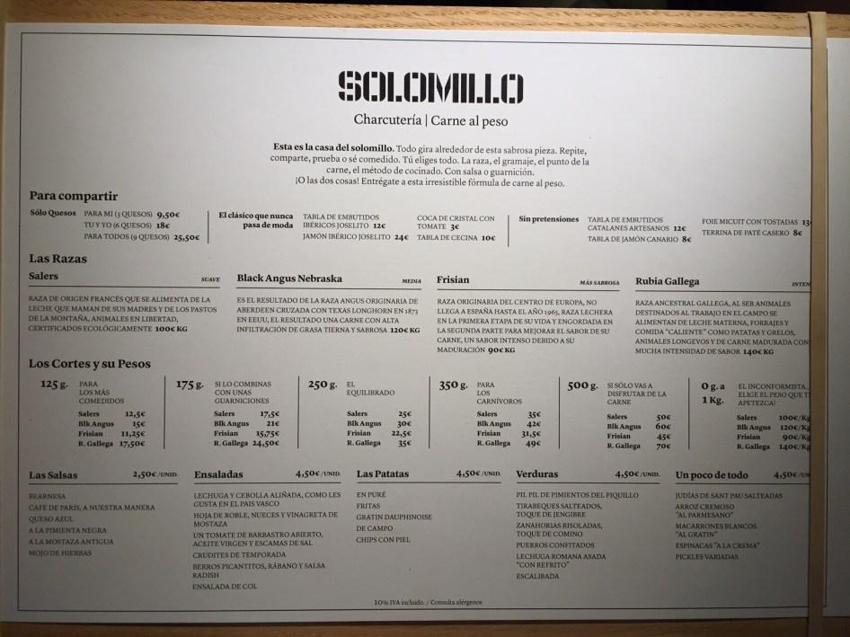 carta platos Solomillo Restaurante & Charcutería
