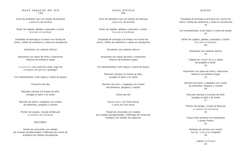 menu degustacion alkimia barcelona