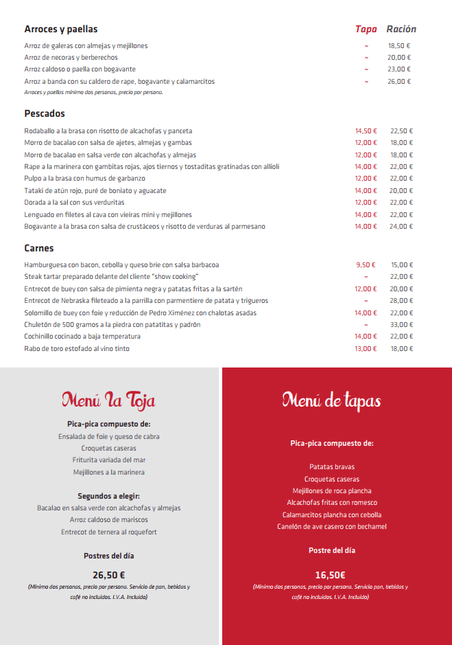 menu la toja castelldefells