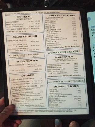 The Salty Dog menu