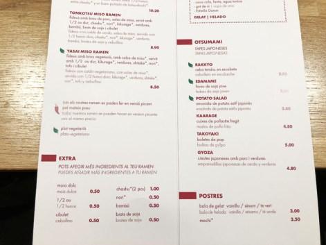 menu Kobuta Ramen