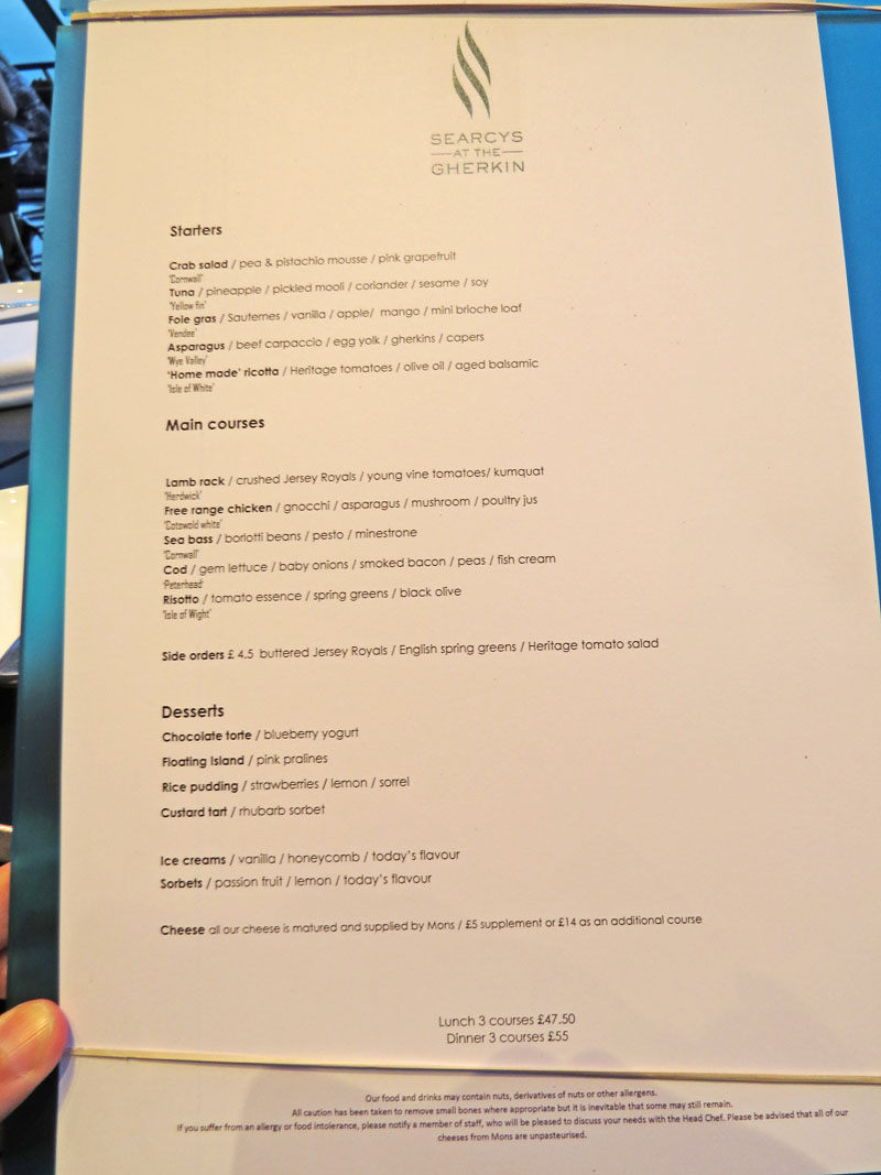 Searcys atThe Gherkin menu