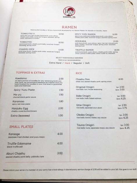 menu Kanada-ya London