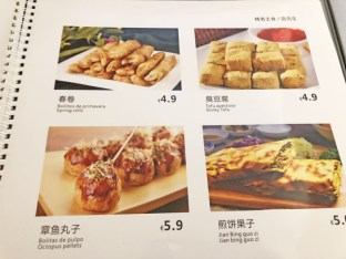 Sr Noodles menu carta